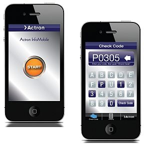 Access OBD II codes with free Actron mobile phone app
