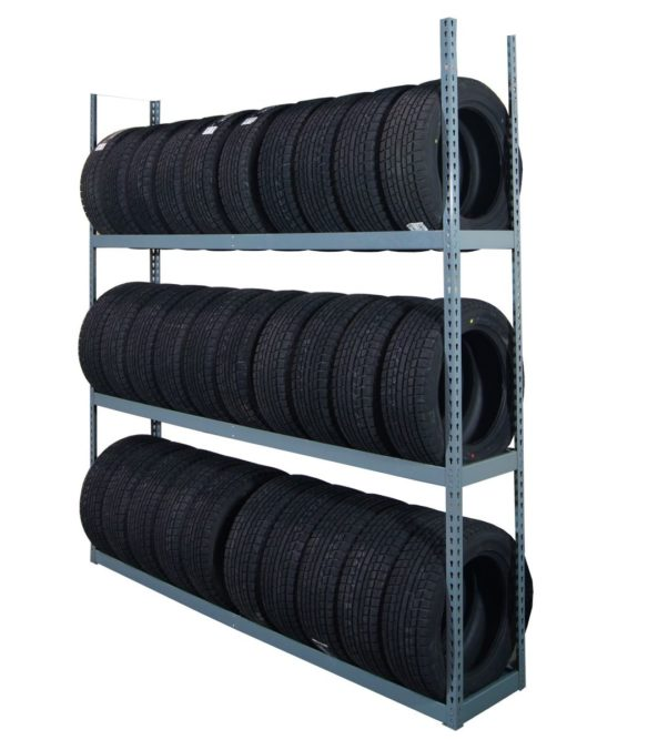 Adjustable tire shelves from Martins Industries for PCR, SUV tires
