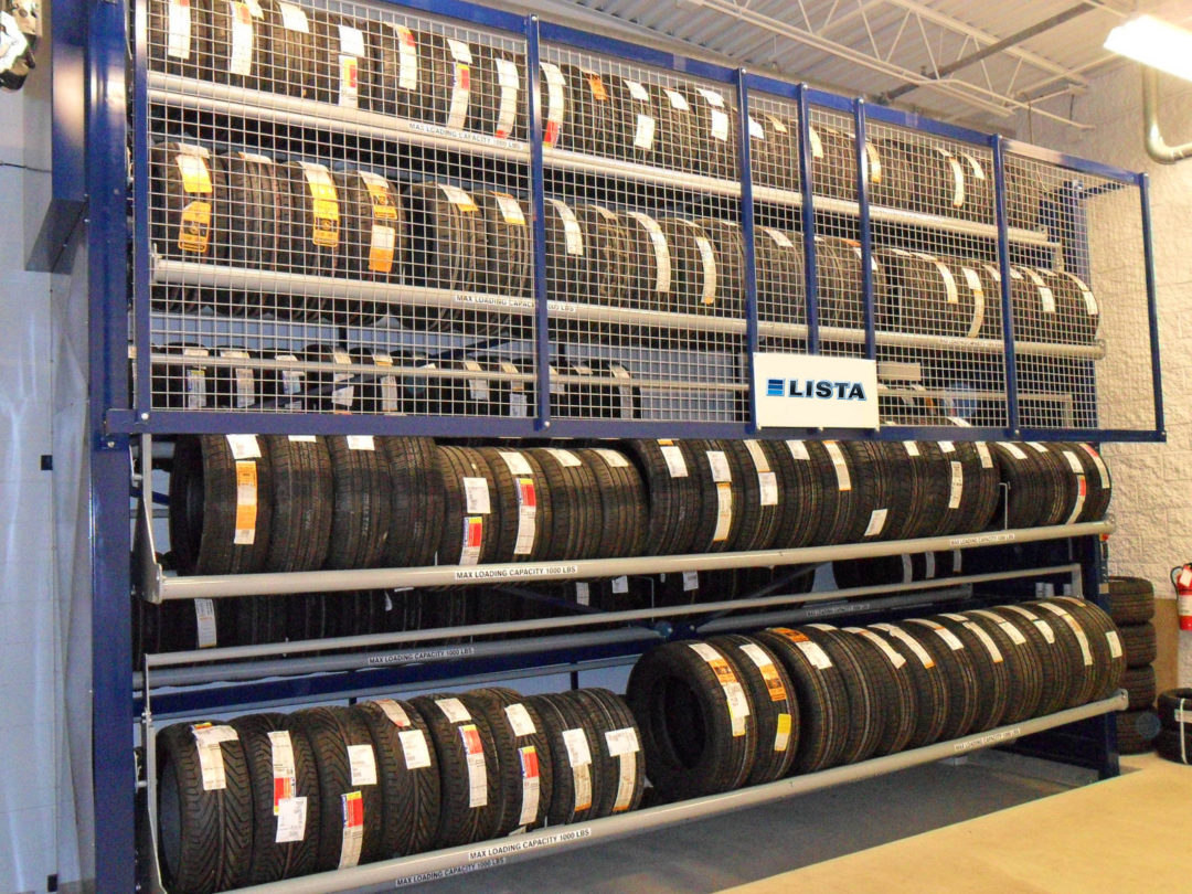 Automated tire carousel from Lista saves space, holds 352 tires