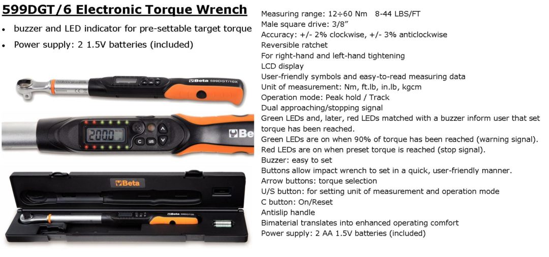 Beta Tools of Italy torque wrench is designed for operator comfort