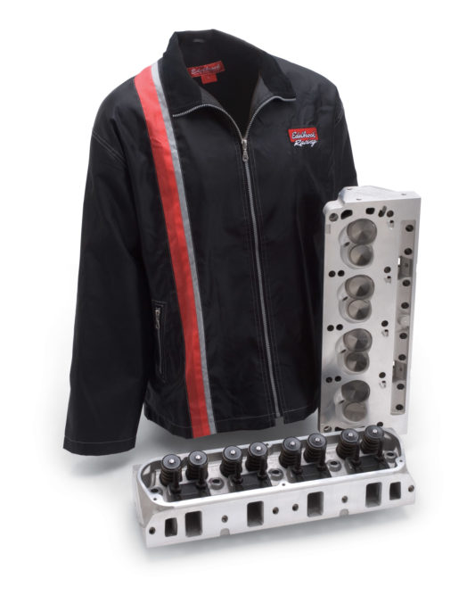 Consumers get a free shop jacket with Edelbrock cylinder head purchase