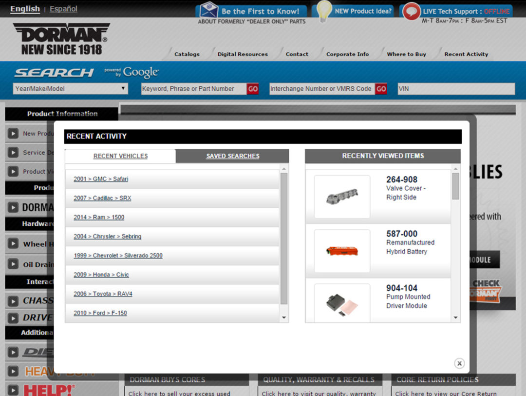 Dorman Products Announces New Website Enhancements