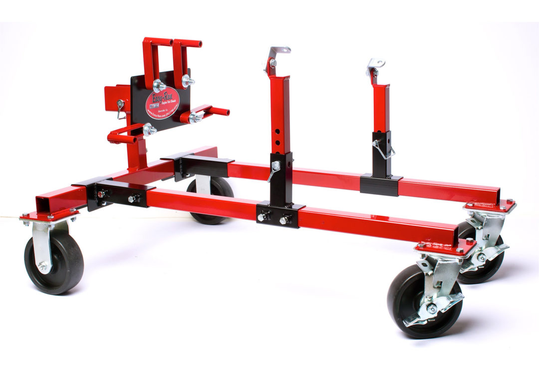 Engine dolly is fully adjustable