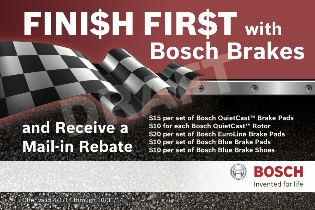 'Finish First' rebate program offers savings on Bosch brakes