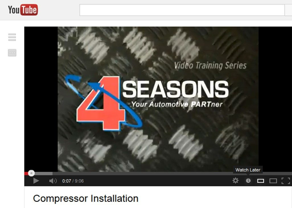 Four Seasons adds A/C compressor installation video to YouTube channel