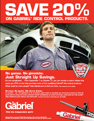 Gabriel shocks/struts promo runs Sept. 1-Oct. 31