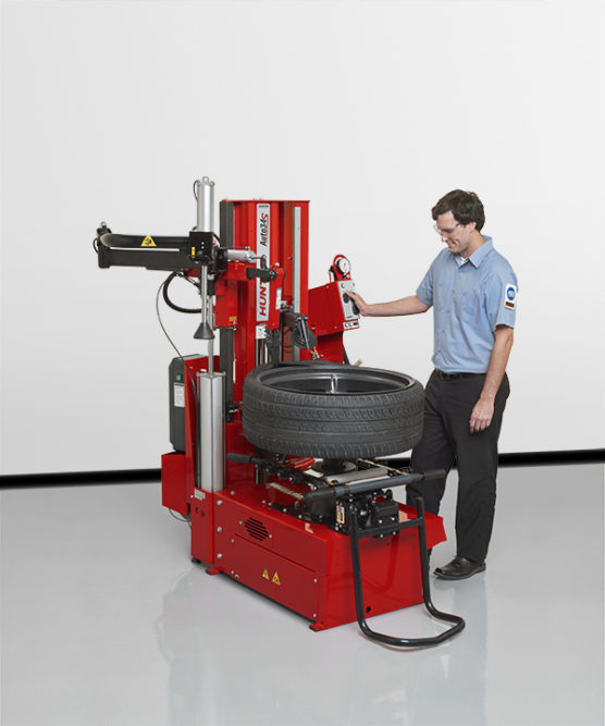 Hunter's Space-Saving Tire Changer Features Push-Button Control