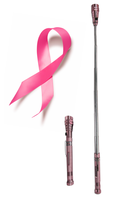 Impeltronics Pink Flashlight pickup tool for Breast Cancer Awareness Month