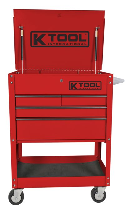 K-Tool's new service cart has a locking top with gas shocks