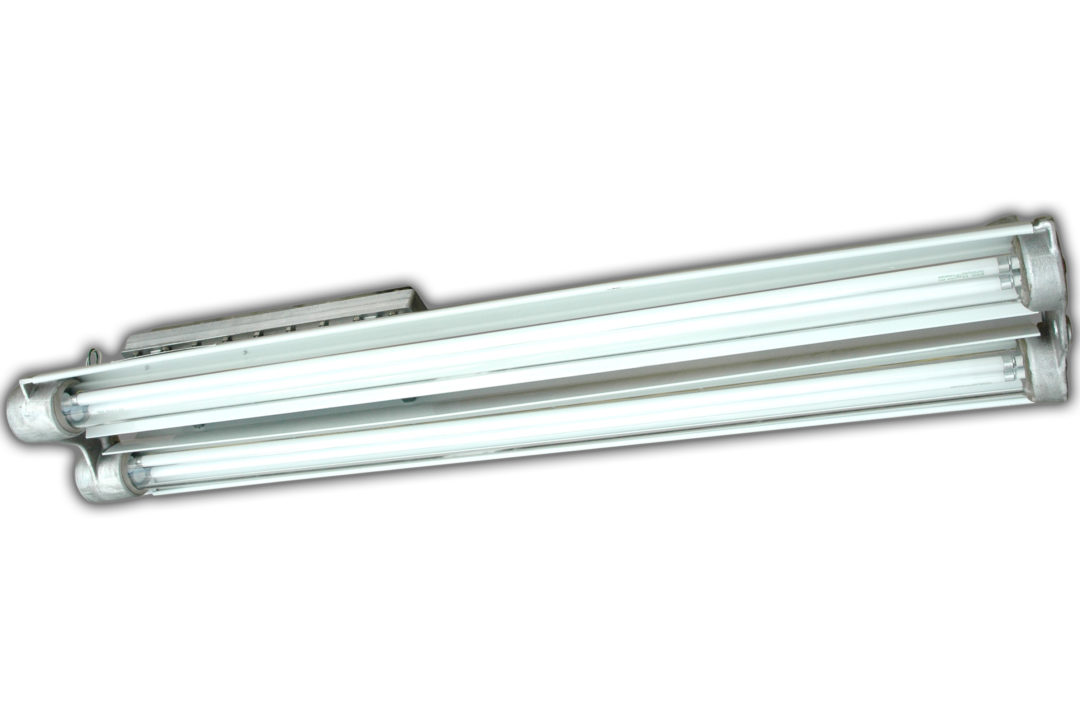 Larson explosion-proof fluorescent light with low profile and high output