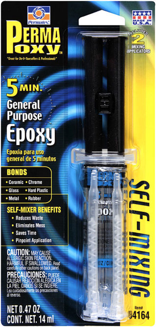 New Permatex PermaPoxy comes in a self-mixing syringe
