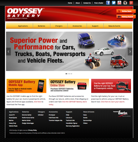 ODYSSEY Battery launches updated website