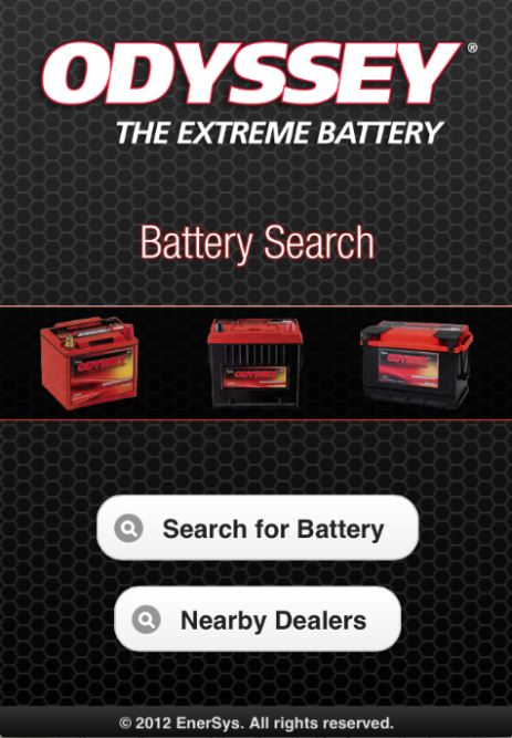 ODYSSEY battery search app for mobile devices