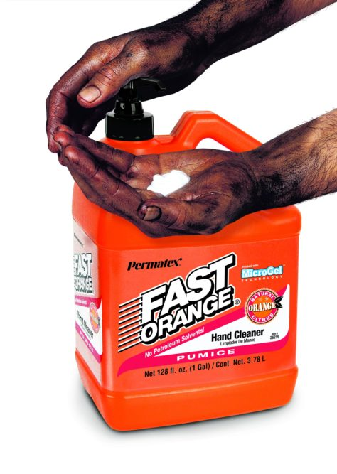 Permatex Fast Orange gently cleans hands without petroleum solvents