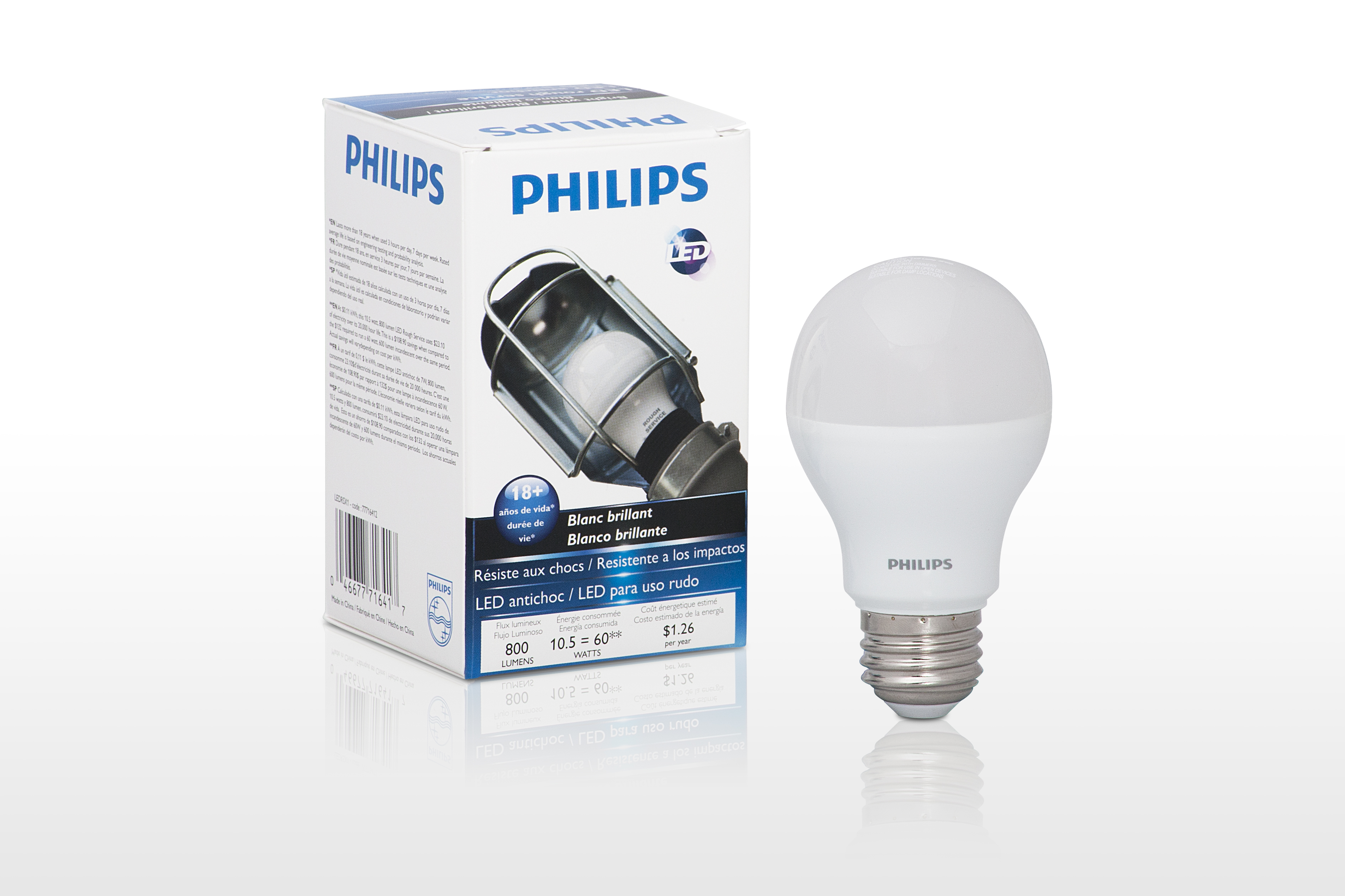 Philips LED Rough Service Light Bulb for rugged shop use