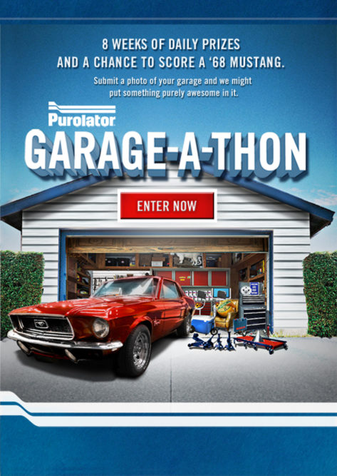 Purolator's 'Garage-A-Thon' promotion offers eight weeks of daily prizes