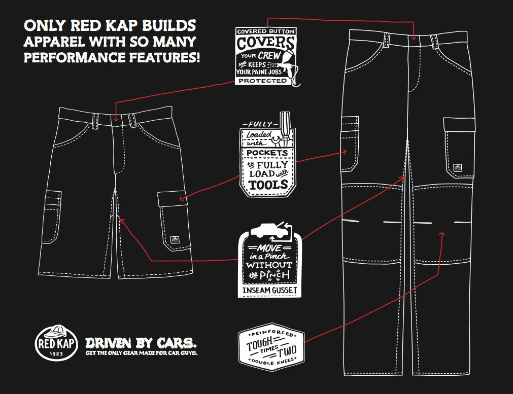 Red Kap offers work pants and shorts for auto service techs