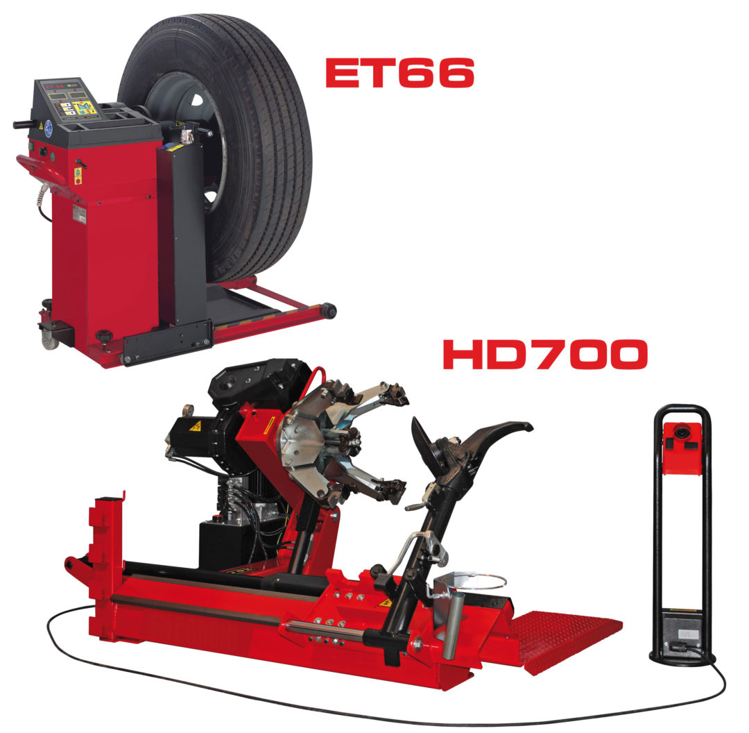 Service big tires and wheels with Bee Line HD700 Tire Changer, ET66 Wheel Balancer