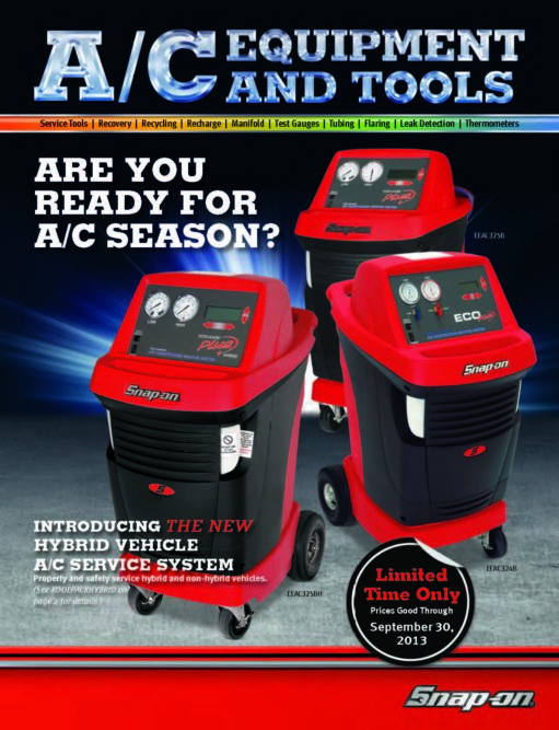 Snap-on A/C catalog includes hybrid-capable A/C machine