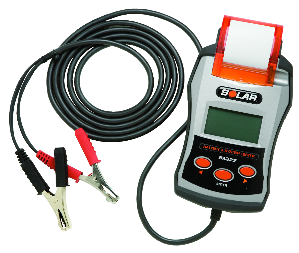 SOLAR BA327 digital battery tester features analytics on 4 battery types