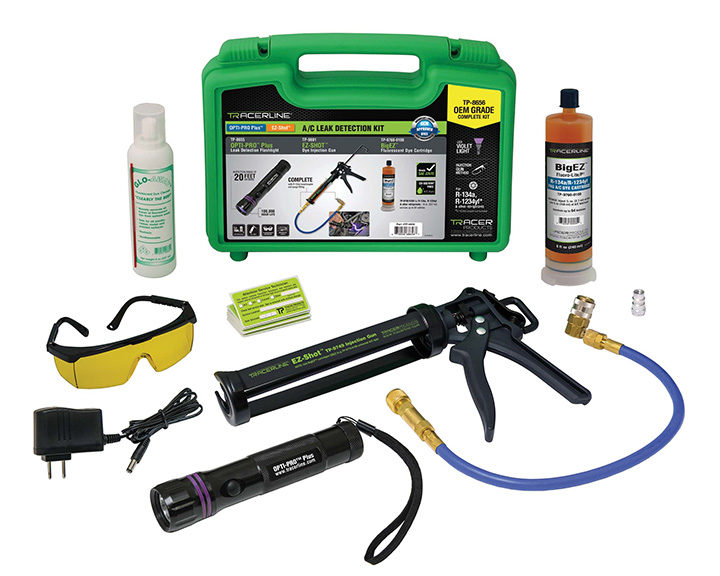 Tracerline A/C Leak Detection Kit Has Rechargeable Flashlight