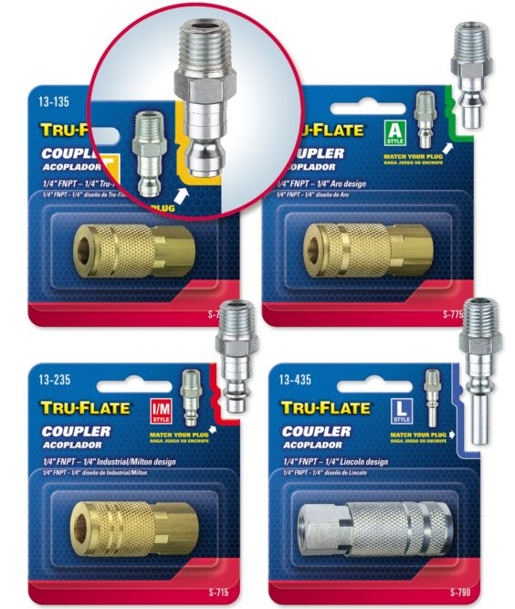 Tru-Flate products repackaged for easy matching of couplers and plugs
