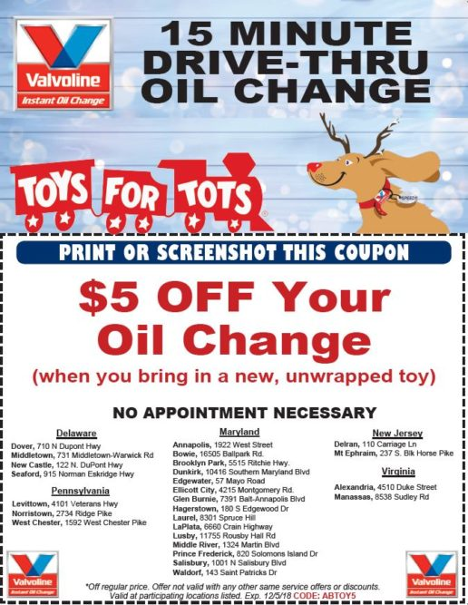 Valvoline Instant Oil Change Locations Serve as Drop-Off Sites for Toys for Tots