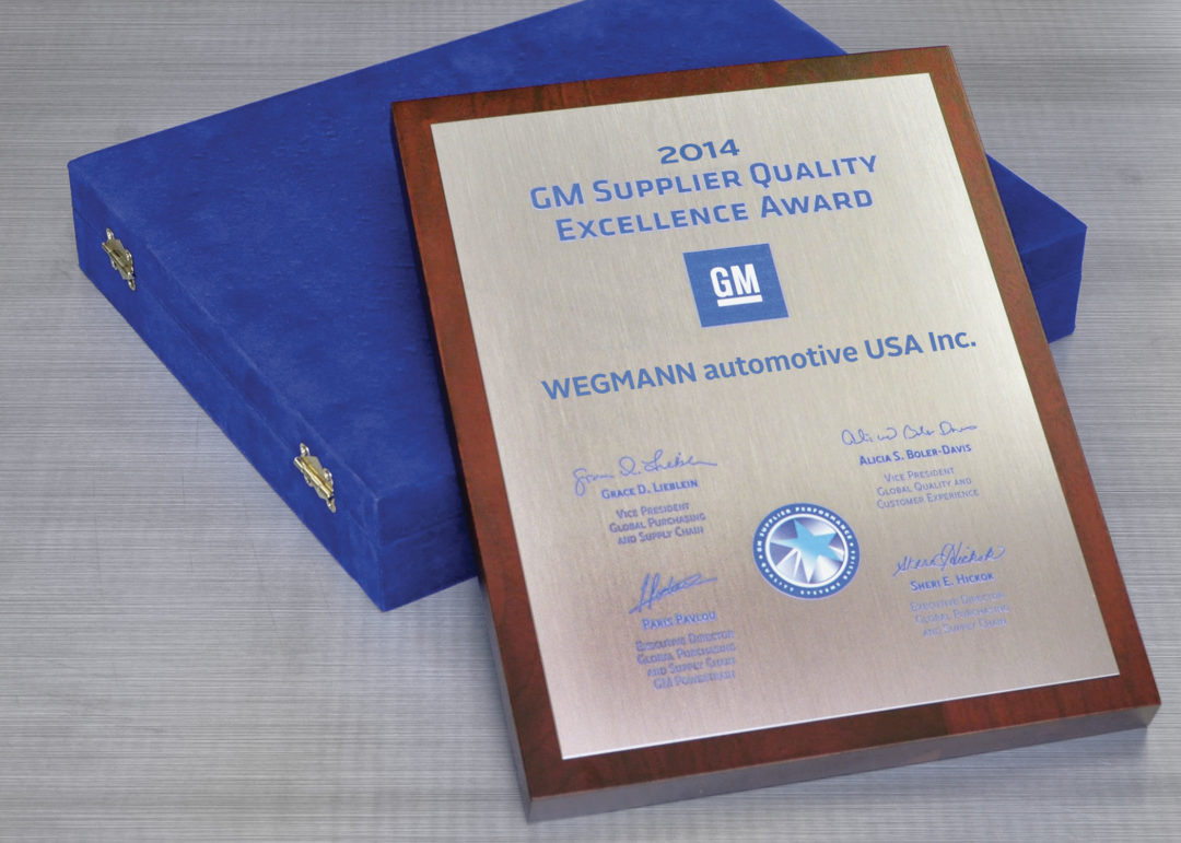 Wegmann automotive receives General Motors quality award for third year